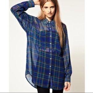 American Apparel oversized chiffon plaid shirt